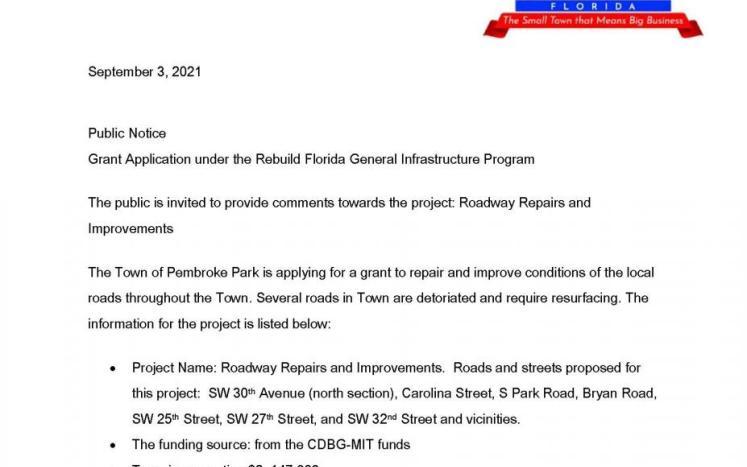 GRANT  APPLICATION  UNDER  THE  REBUILD  FLORIDA  GENERAL  INFRASTRUCTURE  PROGRAM