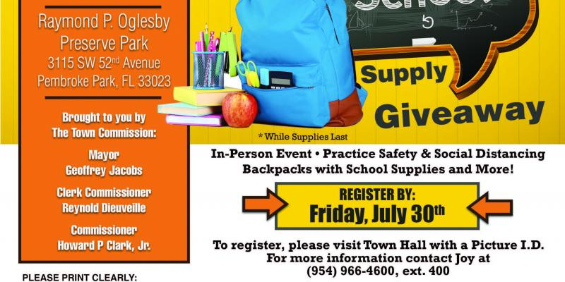 Back to School Supply Giveaway - Register by July 30th